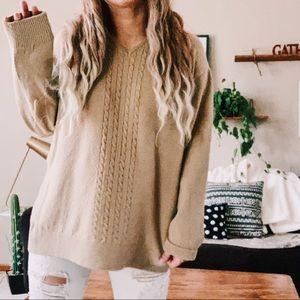 Vintage cozy soft tan v neck oversized sweater